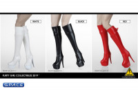 1/6 Scale Female Heeled Zip Boots (red)
