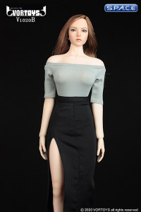 1/6 Scale shoulder-free body with pencil skirt (grey/black)