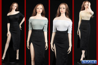 1/6 Scale shoulder-free body with pencil skirt (white/black)