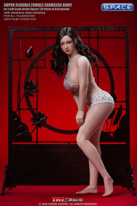 1/6 Scale female super-flexible seamless curvy pale Body with large breast and head sculpt
