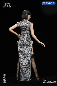 1/6 Scale Pomelo Head Sculpt with Leopard Cheongsam Dress Character Set (white)