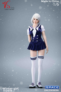 1/6 Scale Winter School Girl Character Set with white Coat