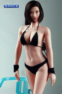 1/6 Scale Seamless Female pale Body - large breast / long dark-brown hair