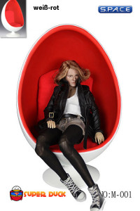 1/6 Scale Egg Chair - White/ Red (M-001-A)