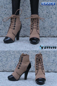 1/6 Scale Female Laced Booties (Brown)