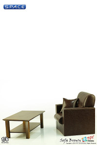 1/6 Scale Single Sofa Brown With Wooden Table